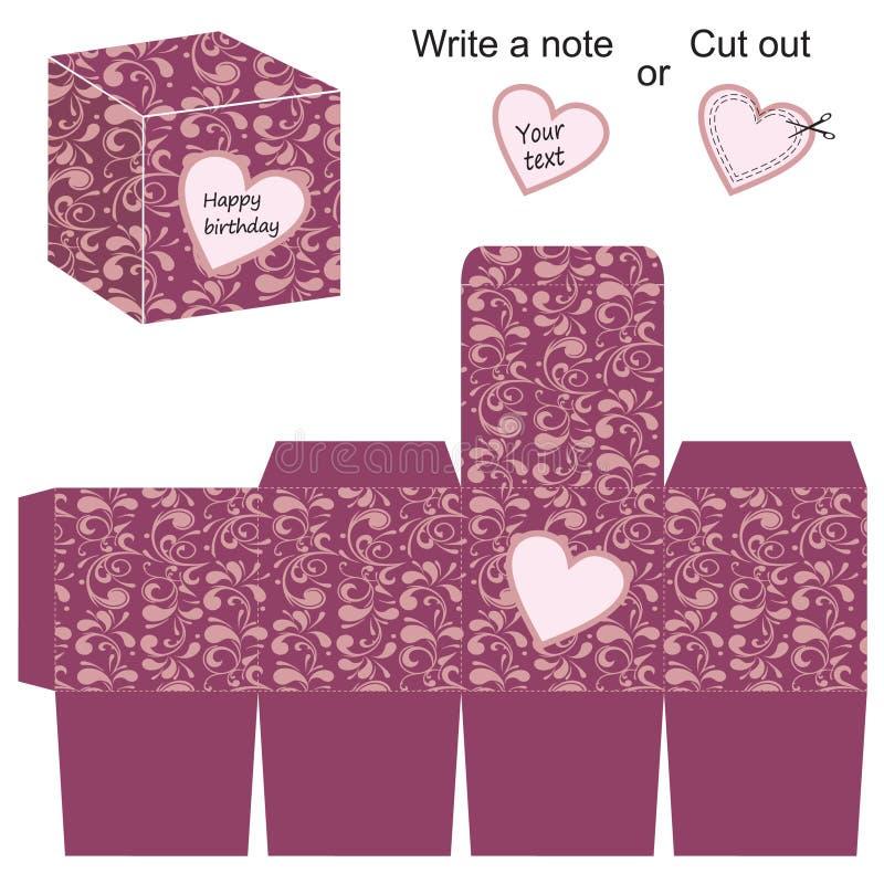 Molde da caixa com teste padrão floral e coração ilustração do vetor