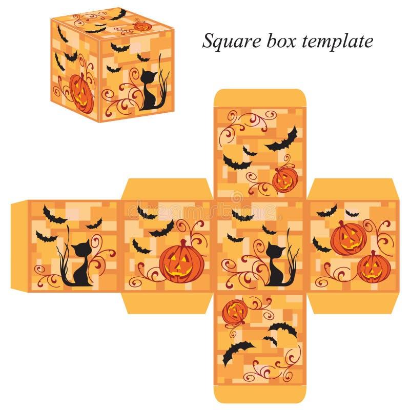 Molde da caixa de Dia das Bruxas com abóbora, o gato preto e os bastões ilustração stock