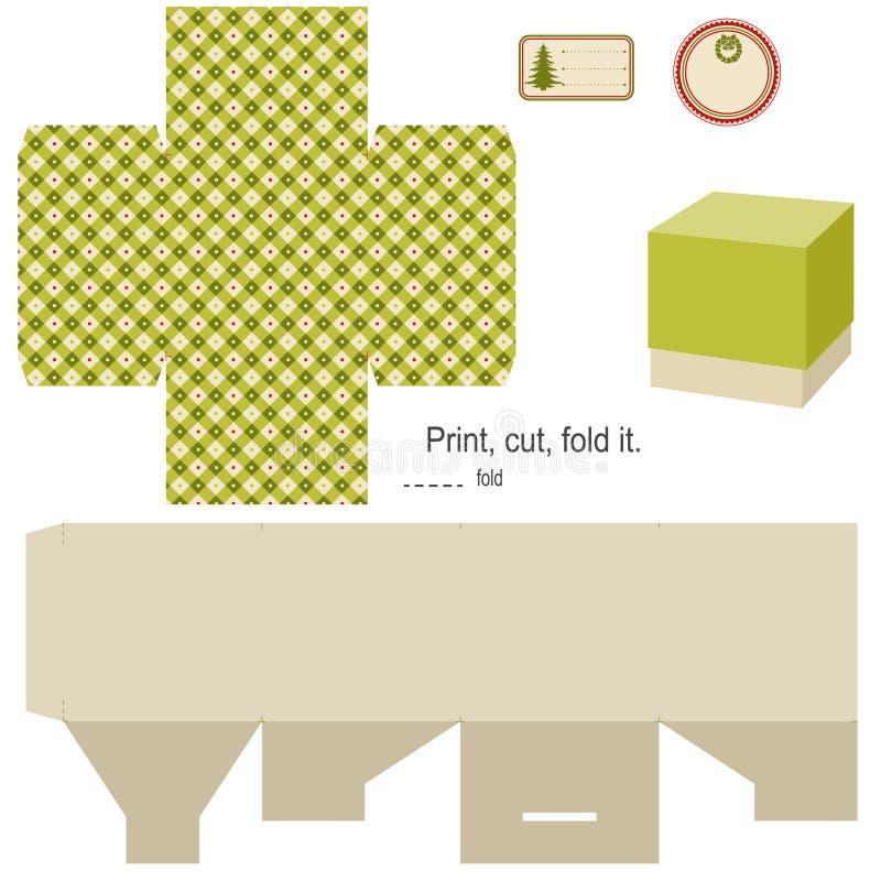 Molde da caixa de presente. ilustração stock