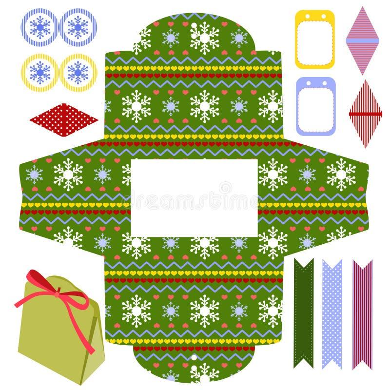 Molde da caixa de presente do Natal ilustração royalty free