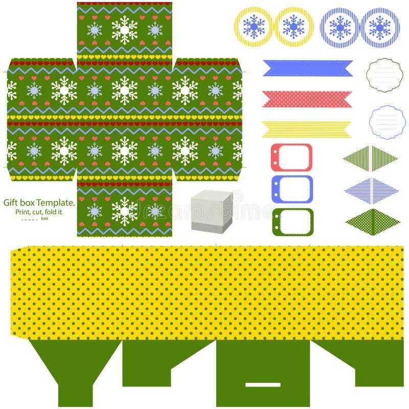 Molde da caixa de presente do Natal ilustração stock