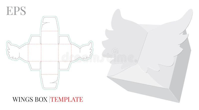 Molde da caixa de presente, vetor com linhas cortado/do laser corte ilustração royalty free