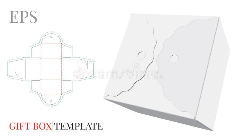 Molde da caixa de presente Vetor com linhas cortado/do laser corte Fechamento do auto, corte e projeto de empacotamento da dobra ilustração royalty free