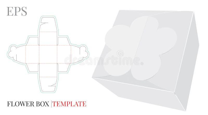 Molde da caixa de presente, vetor com linhas cortado/do laser corte Flor da caixa dos doces ilustração do vetor