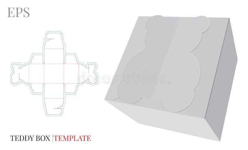 Molde da caixa de presente, vetor com linhas cortado/do laser corte Caixa Teddy Bear dos doces Zombaria branca, vazia, clara, iso ilustração do vetor