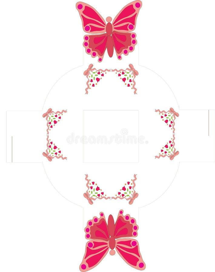 Molde da caixa do favor da borboleta ilustração do vetor
