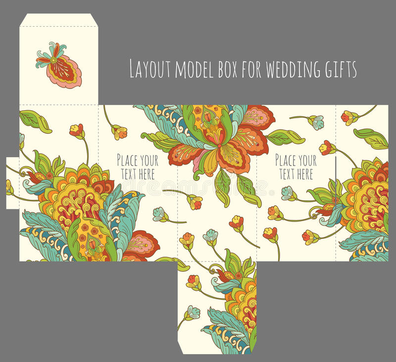 Molde da caixa do favor do casamento do presente com teste padrão da natureza ilustração do vetor
