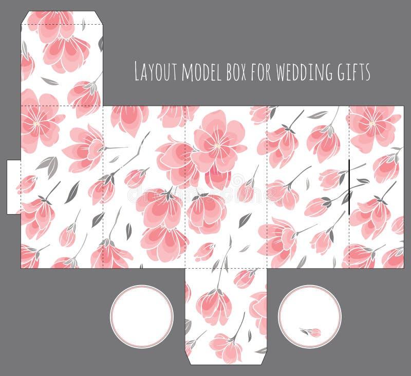 Molde da caixa do favor do casamento do presente com teste padrão da natureza ilustração royalty free