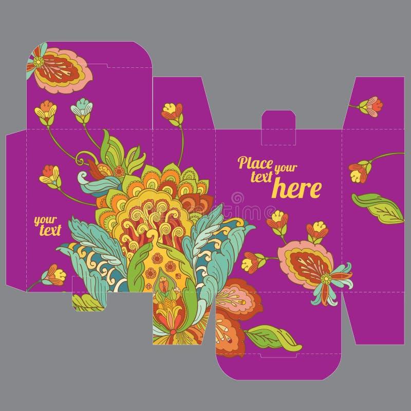 Molde da caixa do favor do casamento do presente com teste padrão de flor oriental ilustração do vetor