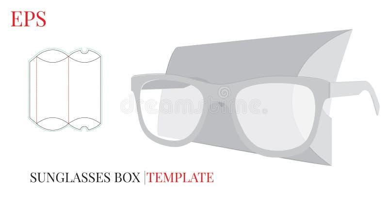 Molde da caixa dos vidros, vetor com linhas cortado/do laser corte Caixa dos óculos de sol ilustração stock