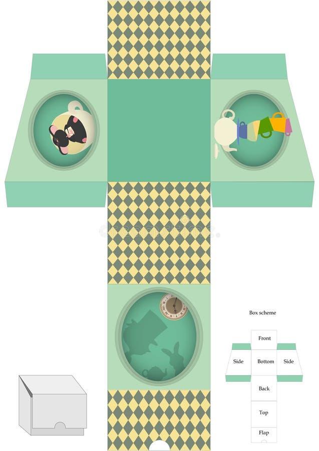 Molde da caixa Pacote do presente Alice no país das maravilhas ilustração royalty free