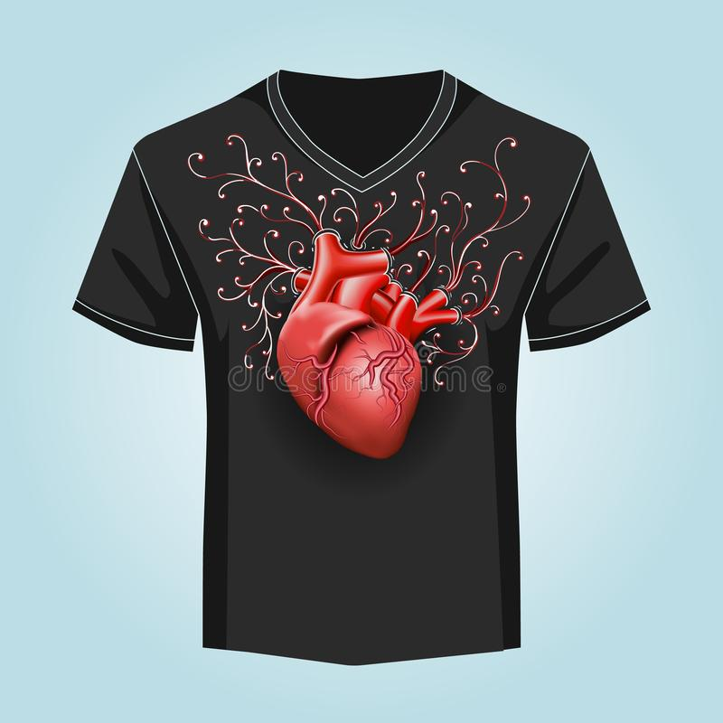 Molde da camisa com teste padrão humano do coração e do redemoinho ilustração royalty free