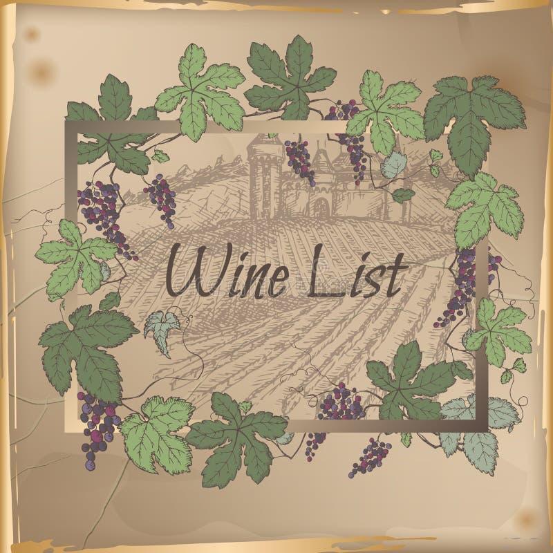 Molde da carta de vinhos com castelo, vinhedo e quadro da vinha da cor ilustração stock
