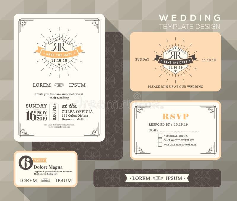 Molde da cenografia do convite do casamento do vintage ilustração do vetor
