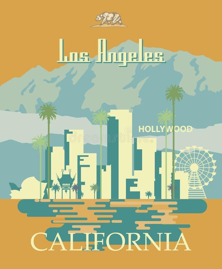 Molde da cidade do vetor de Los Angeles Cartaz de Califórnia no estilo liso colorido ilustração do vetor