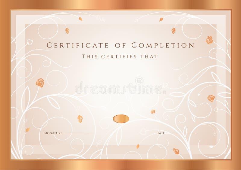 Molde da concessão do certificado/diploma. Quadro ilustração do vetor