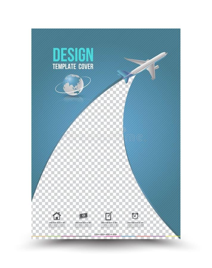 Molde da disposição de capa com avião de papel ilustração stock