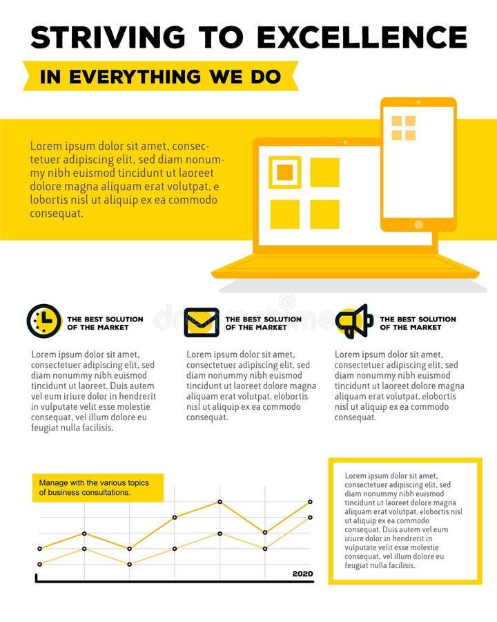 Molde da empresa do vetor infographic com gráfico linear, ilustração do vetor