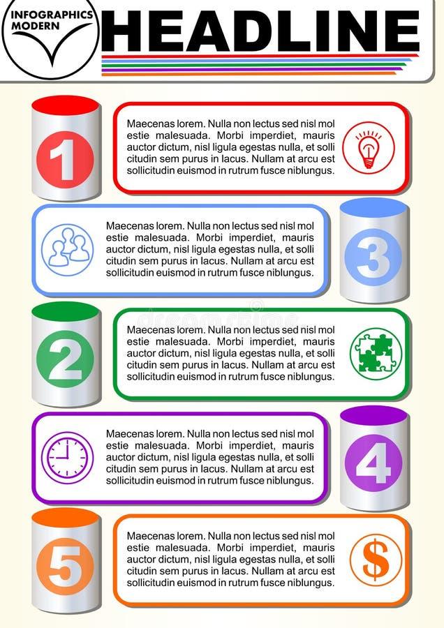 Molde da etapa de Infographic cinco, visualização do processo, elementos gráficos do cyklinder 3d, vetor abstrato com ícones e ilustração stock