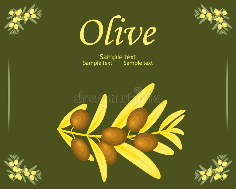 Molde da etiqueta do azeite Ouro decorativo do vetor e azeitona amarela ilustração do vetor