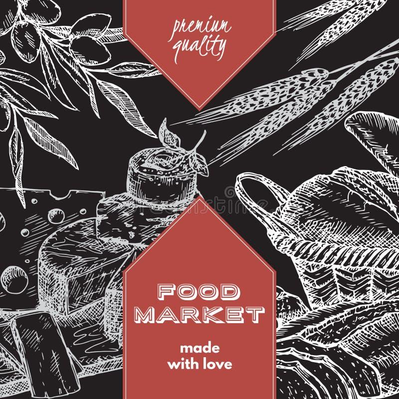 Molde da etiqueta do mercado do alimento com pão e queijo ilustração royalty free