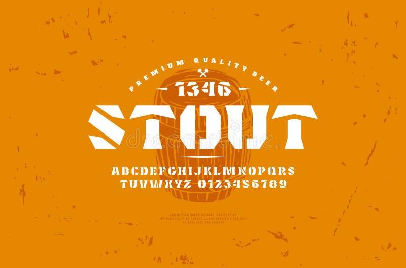 molde da etiqueta da fonte do serif da Estêncil-placa e da cerveja do ofício ilustração do vetor