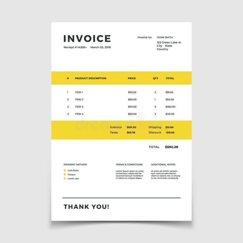 Molde da fatura Prder do papel da tabela da cotação para serviços da contabilidade Original do vetor ilustração stock