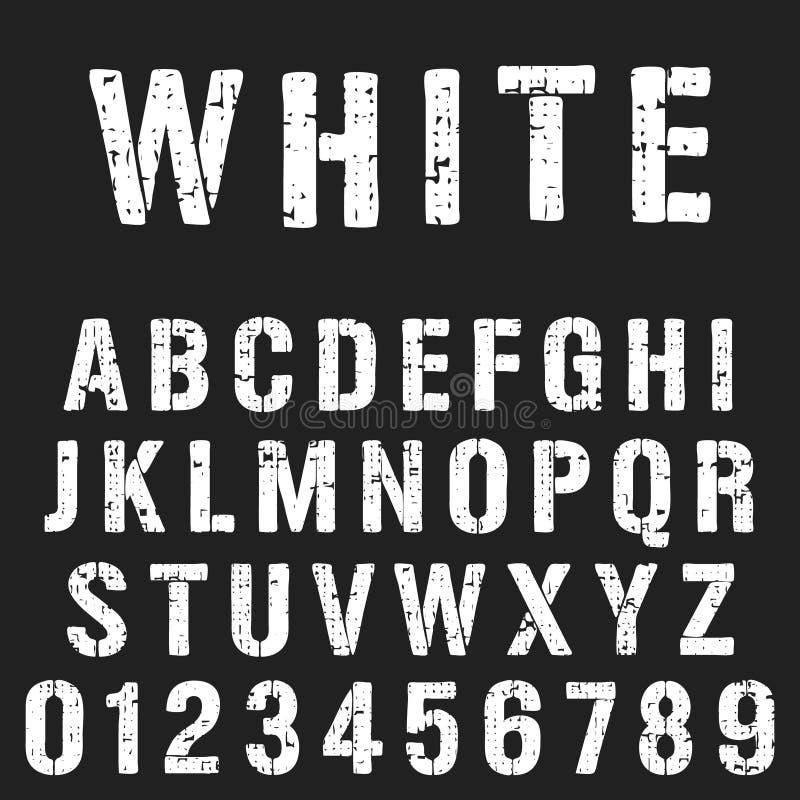 Molde da fonte do alfabeto do estêncil ilustração do vetor