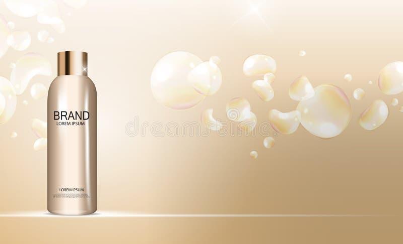 Molde da garrafa do gel do chuveiro para anúncios ou fundo do compartimento 3D vetor realístico Iillustration ilustração stock