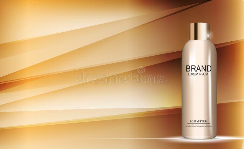 Molde da garrafa do gel do chuveiro para anúncios ou fundo do compartimento 3D vetor realístico Iillustration ilustração royalty free