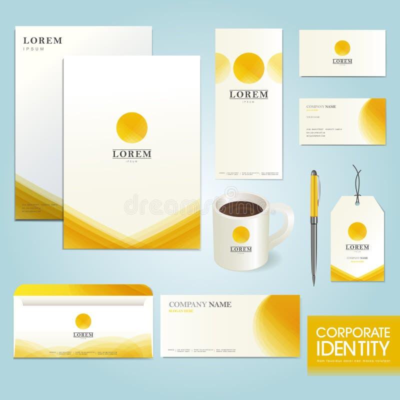 Molde da identidade corporativa do negócio com círculo amarelo ilustração royalty free