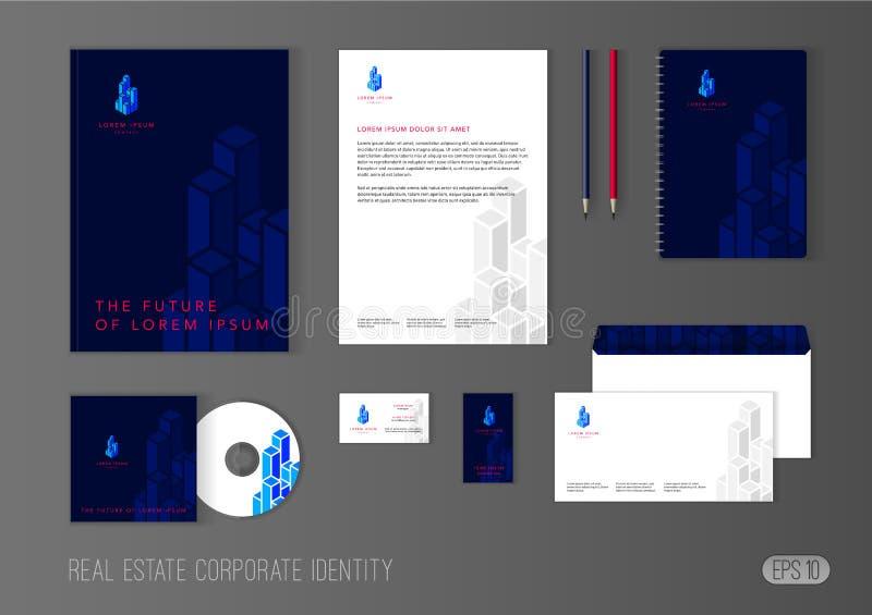 Molde da identidade corporativa para a empresa de bens imobiliários ilustração do vetor