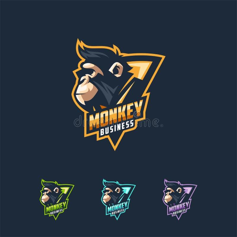 Molde da ilustração do vetor do projeto do logotipo do macaco ilustração royalty free