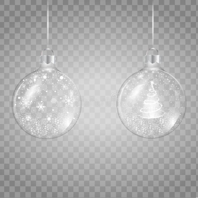 Molde da ilustração transparente de vidro do vetor da bola do Natal ilustração do vetor