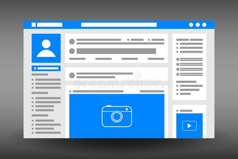 Molde da interface de utilizador do página da web Janela do browser social do Web site da rede Projeto de UI no estilo liso Vetor ilustração royalty free