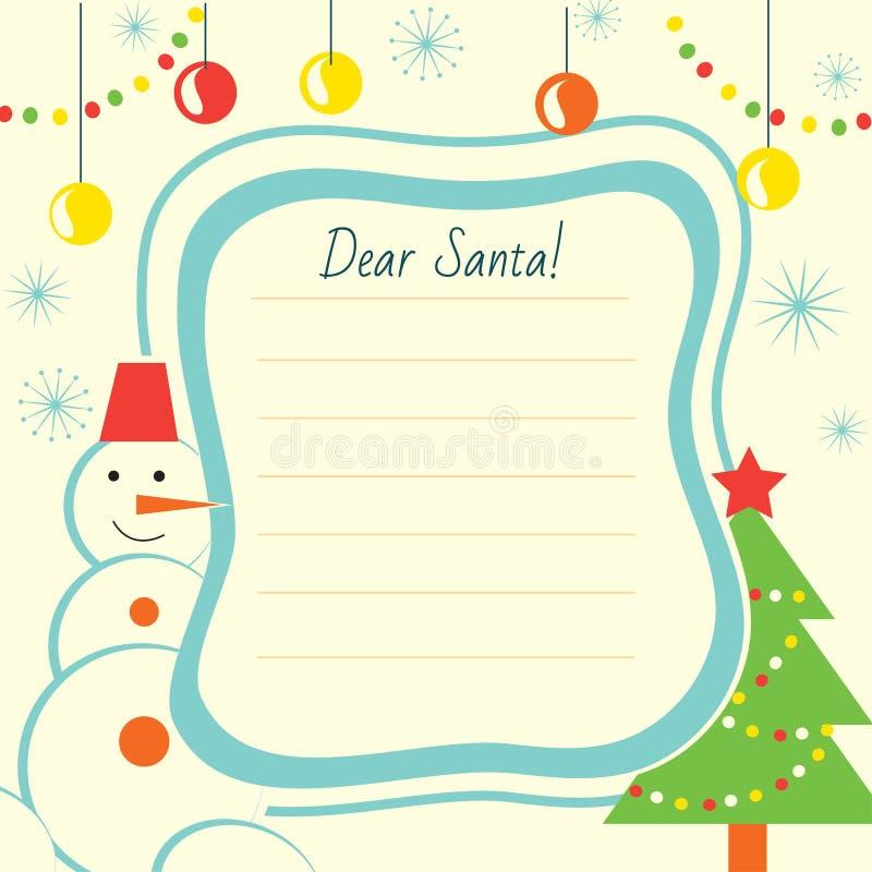 Molde da letra do Natal a Santa Claus para a cópia ilustração do vetor