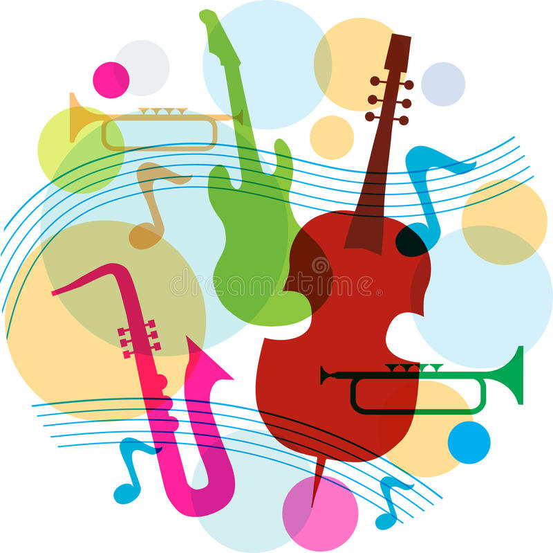 Molde da música com notas, guitarra e saxofone ilustração do vetor