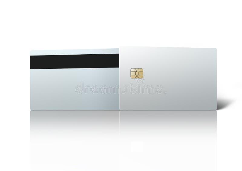 Molde da microplaqueta vazia branca do cartão de banco isolada no branco foto de stock