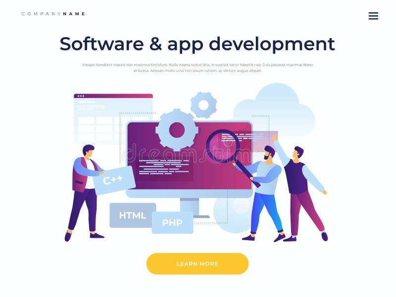 Molde da página da aterragem Conceito da programação de software e das aplicações ilustração royalty free