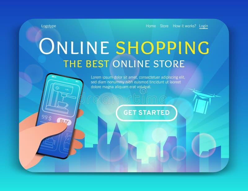 Molde da página da aterrissagem da compra e do comércio eletrônico em linha Conceito de projeto liso moderno do projeto do página foto de stock