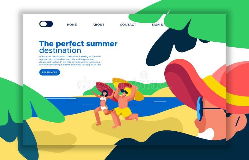Molde da página da aterrissagem das férias da praia do verão ilustração stock