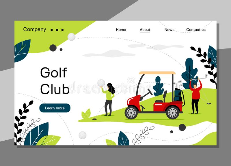 Molde da página da aterrissagem do clube de golfe, conceito golfing da escola com carro do golfe, Web site da bandeira - ilustraç ilustração stock