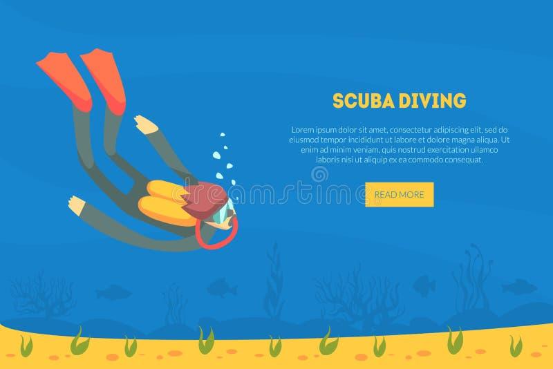 Molde da página da aterrissagem do mergulho autônomo, mergulhador no terno de natação, aletas e natação da máscara sob a ilustraç ilustração royalty free
