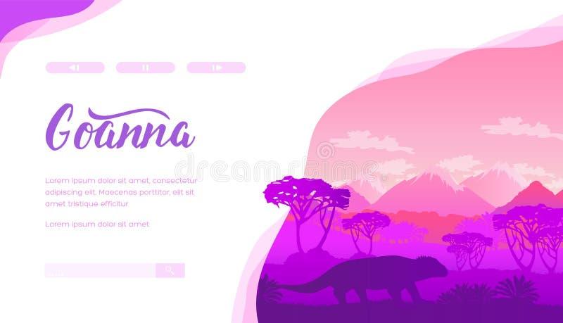 Molde da página da aterrissagem do vetor de Goanna ilustração royalty free