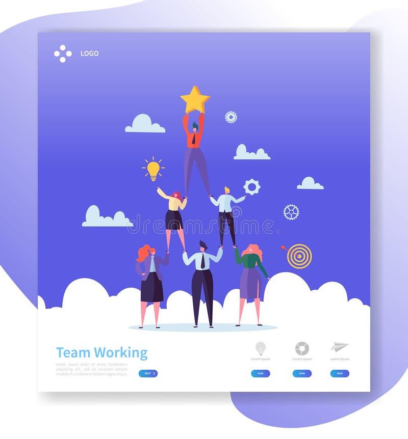 Molde da página da aterrissagem dos trabalhos de equipe Executivos da pirâmide dos caráteres que trabalha junto para o Web site o ilustração royalty free