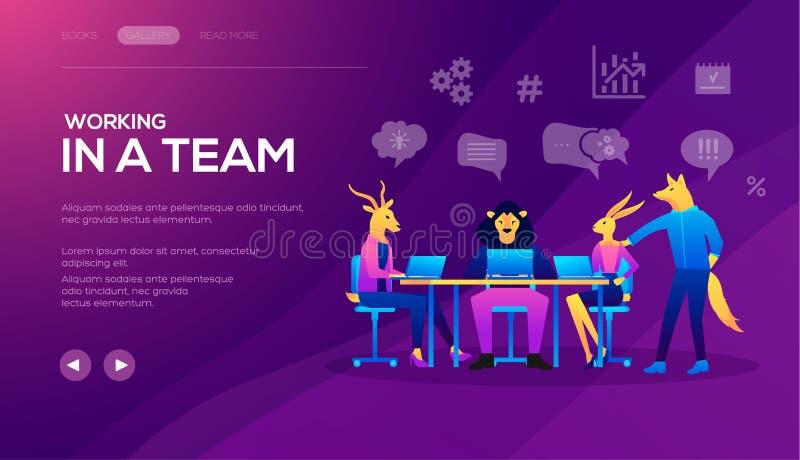 Molde da página da aterrissagem da equipe de Seo Analytics Gestão do projeto e estratégia financeira do relatório ilustração royalty free