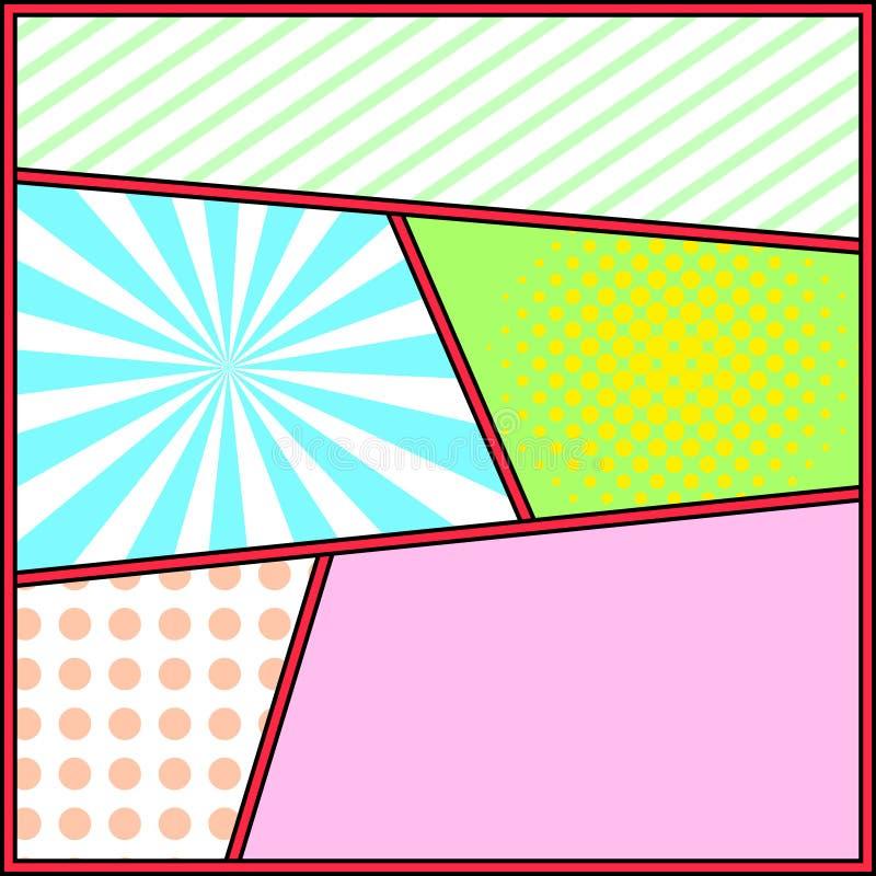 Molde da página do fundo da banda desenhada do quadro do pop art ilustração royalty free