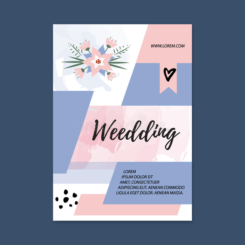 Molde da placa do folheto do casamento do vetor Primeira página e página traseira Projeto fêmea abstrato do folheto Planejador do ilustração royalty free