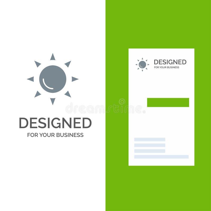 Molde da praia, Shinning, do Sun Grey Logo Design e do cartão ilustração do vetor