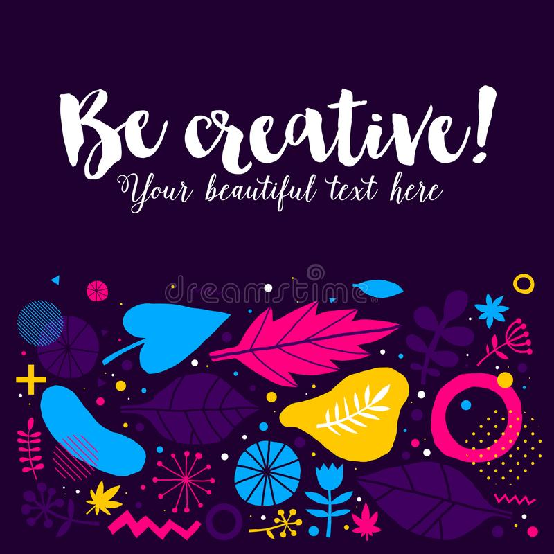 Molde da propaganda com mão colorida elementos tirados Projeto abstrato floral, ilustração moderna, faculdade criadora ilustração royalty free